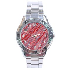 Pink and red decorative pattern Stainless Steel Analogue Watch