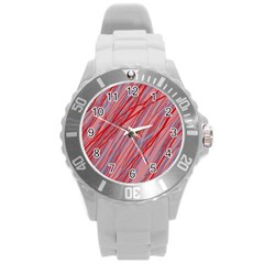 Pink and red decorative pattern Round Plastic Sport Watch (L)
