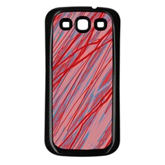 Pink and red decorative pattern Samsung Galaxy S3 Back Case (Black)