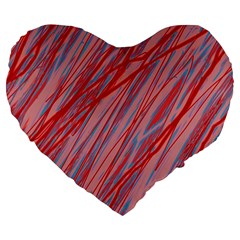 Pink and red decorative pattern Large 19  Premium Flano Heart Shape Cushions