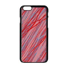 Pink and red decorative pattern Apple iPhone 6/6S Black Enamel Case