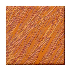 Orange Pattern Tile Coasters