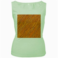Orange pattern Women s Green Tank Top