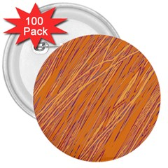 Orange pattern 3  Buttons (100 pack)