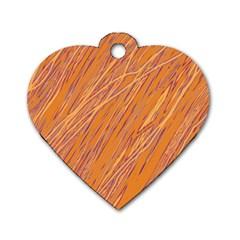 Orange pattern Dog Tag Heart (Two Sides)