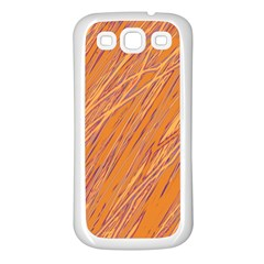 Orange pattern Samsung Galaxy S3 Back Case (White)