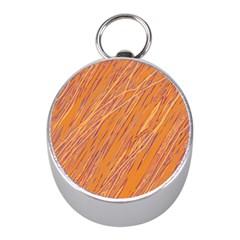 Orange pattern Mini Silver Compasses