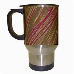 Brown elegant pattern Travel Mugs (White)