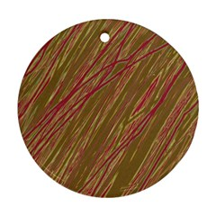 Brown elegant pattern Round Ornament (Two Sides)