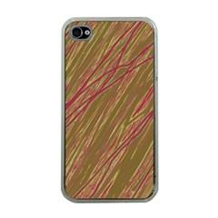 Brown elegant pattern Apple iPhone 4 Case (Clear)