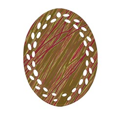 Brown elegant pattern Oval Filigree Ornament (2-Side)