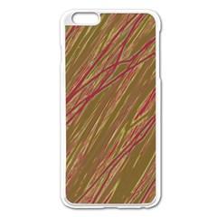 Brown elegant pattern Apple iPhone 6 Plus/6S Plus Enamel White Case