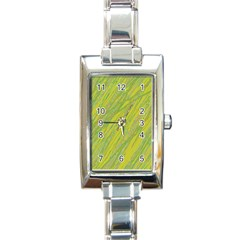 Green and yellow Van Gogh pattern Rectangle Italian Charm Watch