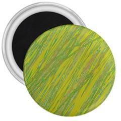 Green and yellow Van Gogh pattern 3  Magnets