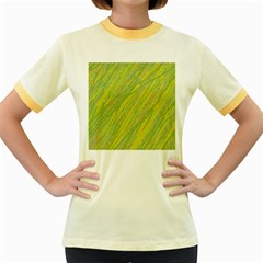 Green and yellow Van Gogh pattern Women s Fitted Ringer T-Shirts