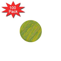 Green and yellow Van Gogh pattern 1  Mini Buttons (100 pack)
