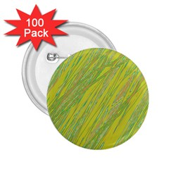 Green and yellow Van Gogh pattern 2.25  Buttons (100 pack)