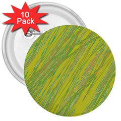 Green and yellow Van Gogh pattern 3  Buttons (10 pack)