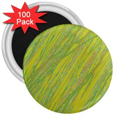 Green and yellow Van Gogh pattern 3  Magnets (100 pack)