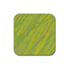 Green and yellow Van Gogh pattern Rubber Coaster (Square)