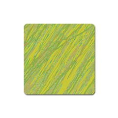 Green and yellow Van Gogh pattern Square Magnet