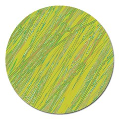 Green and yellow Van Gogh pattern Magnet 5  (Round)