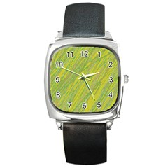 Green and yellow Van Gogh pattern Square Metal Watch