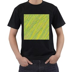 Green and yellow Van Gogh pattern Men s T-Shirt (Black) (Two Sided)
