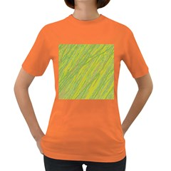 Green and yellow Van Gogh pattern Women s Dark T-Shirt