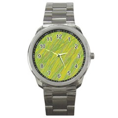 Green and yellow Van Gogh pattern Sport Metal Watch