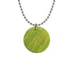 Green and yellow Van Gogh pattern Button Necklaces