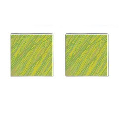 Green and yellow Van Gogh pattern Cufflinks (Square)