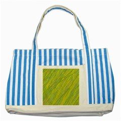 Green and yellow Van Gogh pattern Striped Blue Tote Bag