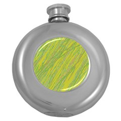 Green and yellow Van Gogh pattern Round Hip Flask (5 oz)