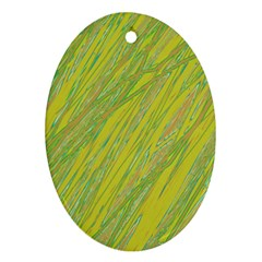 Green and yellow Van Gogh pattern Oval Ornament (Two Sides)