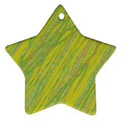 Green and yellow Van Gogh pattern Star Ornament (Two Sides)