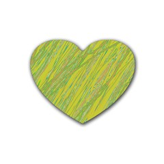 Green and yellow Van Gogh pattern Rubber Coaster (Heart)