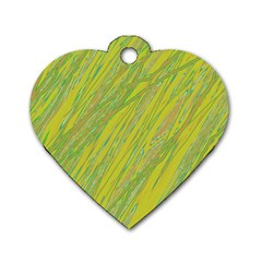 Green and yellow Van Gogh pattern Dog Tag Heart (One Side)