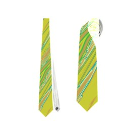 Green and yellow Van Gogh pattern Neckties (Two Side)
