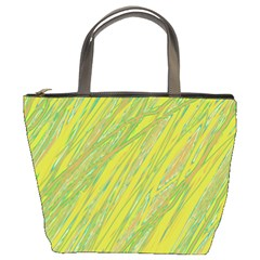 Green and yellow Van Gogh pattern Bucket Bags