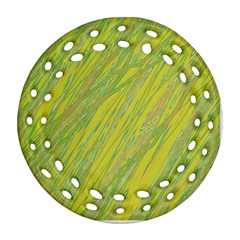 Green and yellow Van Gogh pattern Round Filigree Ornament (2Side)