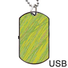 Green and yellow Van Gogh pattern Dog Tag USB Flash (Two Sides)