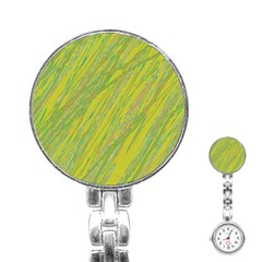 Green and yellow Van Gogh pattern Stainless Steel Nurses Watch