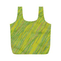 Green and yellow Van Gogh pattern Full Print Recycle Bags (M)