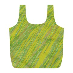 Green and yellow Van Gogh pattern Full Print Recycle Bags (L)