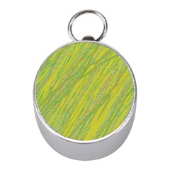 Green and yellow Van Gogh pattern Mini Silver Compasses