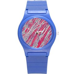 Purple decorative pattern Round Plastic Sport Watch (S)