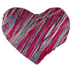 Purple decorative pattern Large 19  Premium Flano Heart Shape Cushions