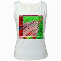 Colorful pattern Women s White Tank Top