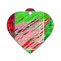 Colorful pattern Dog Tag Heart (Two Sides)